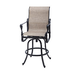 Grand Terrace Sling Swivel Bar Stool