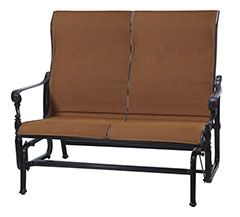 Grand Terrace Padded Sling High Back Loveseat Glider