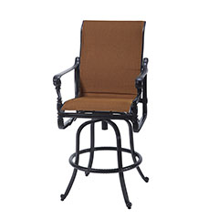 Grand Terrace Padded Sling Swivel Bar Stool
