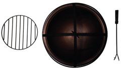 Copper Bowl, Screen, Grate & Poker