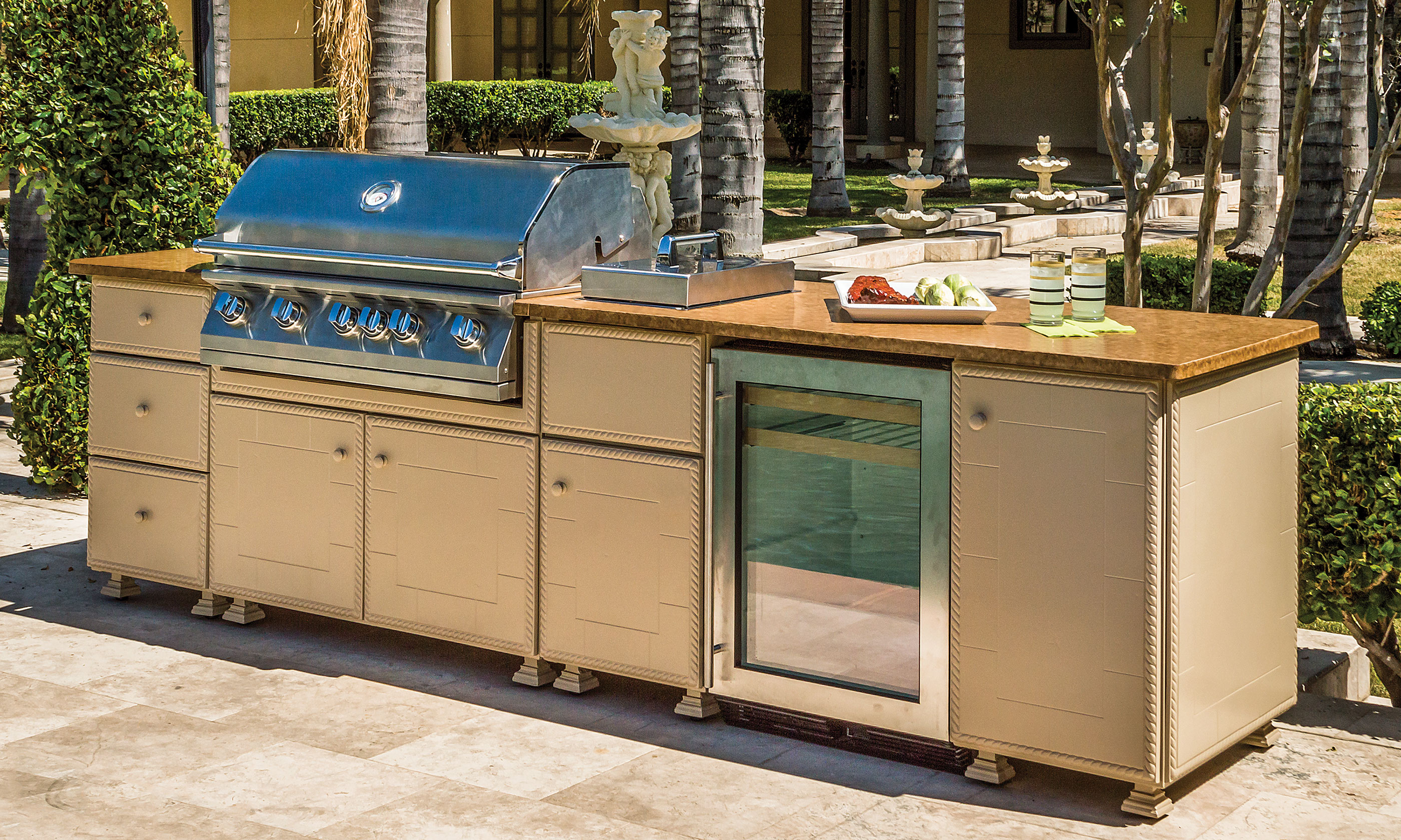 Outdoor kitchens on hayneedle outdoor kitchen grills for Barbecue islands for sale